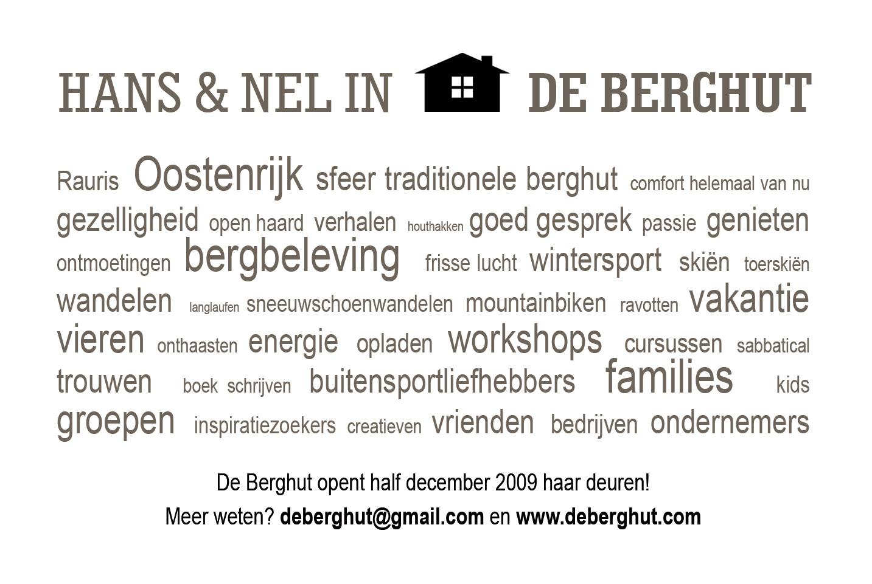 visitekaartje de Berghut Rauris achterkant