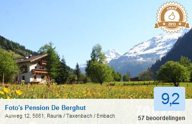 zoover award de Berghut Oostenrijk 2013